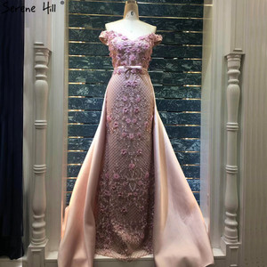 Image 1 - Pink Sleeveless Off Shoulder Luxury Evening Dresses 2020 Handmade Flowers Pearls Sexy Evening Gowns Real Photo LA60715