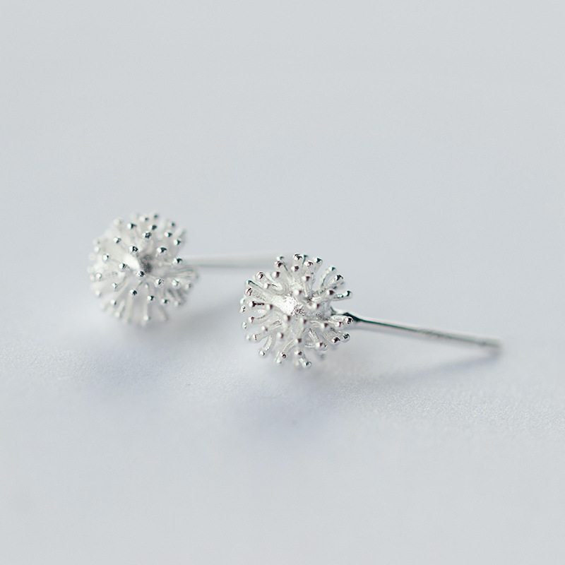 925 Sterling Silver Women's Jewelry Fashion Tiny 7mmX7mm Dandelion Stud Earrings Gift For Girls Kid Brincos Dz714