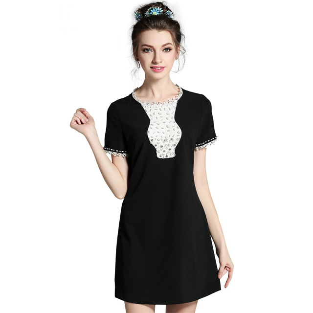 L- 5XL 2017 New Women Summer Short Dress Slim Fit Plus Size Little Black Mini  Dress O-neck Collar Luxury Beading Vestidos 6b877c046673