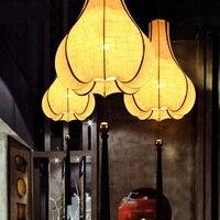 Китайские ткани подвесной светильник спальня исследование вилла лампы art Юго Восточной огни шелковая ткань Китайская традиционная подвесн