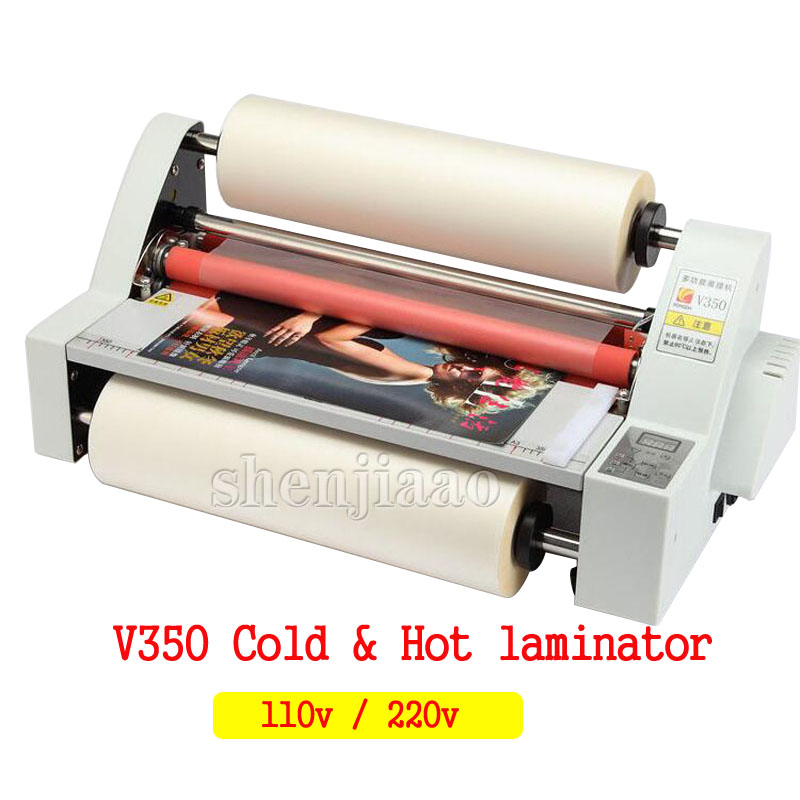 V350 film Laminator Four Rollers Hot Roll Laminating Machine electronic temperature control single roll laminator 1pc