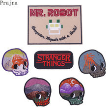 Prajna MR Robot Bowie Akira Patch Stranger Things Iron On Cheap Embroidered Patches For Clothing Sewing Riverdale Patch Badge(China)