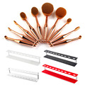 Hot 10 unids Pinceles de Maquillaje set cepillo de Dientes Forma Oval Powder Foundation Brush Kit + Acrílico Holder Organizador Cosmético Del Cepillo soporte
