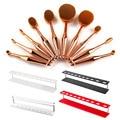Hot 10pcs Makeup Brushes set Oval Tooth brush Shape Foundation Powder Brush Kit +Acrylic Organizer Cosmetic Brush Holder Stand