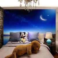 תמונה מותאמת אישית טפט מודרני מינימליסטי אגם שלווה טפט ציור קיר טפט חדר שינה סלון גדול לילה שקט