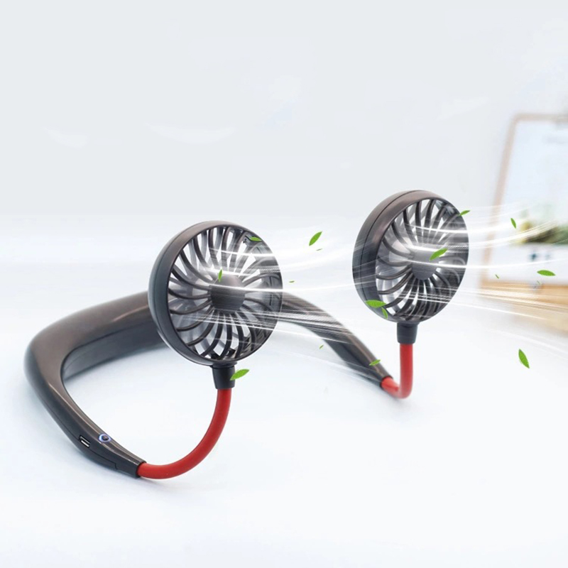 2000 mAre USB Portable Fan Hands-free Neck Hanging USB Charging Mini Portable Sports Fan 3 gears Usb Air Conditioner (China)