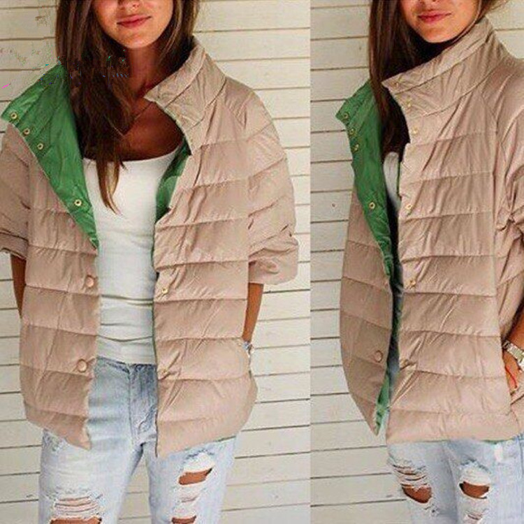 ФОТО 2016 Top Fashion Cotton New Cotton-padded Clothes Color Matching 5 Minutes Of Sleeve Warm Female Fashion Simple Five Colors