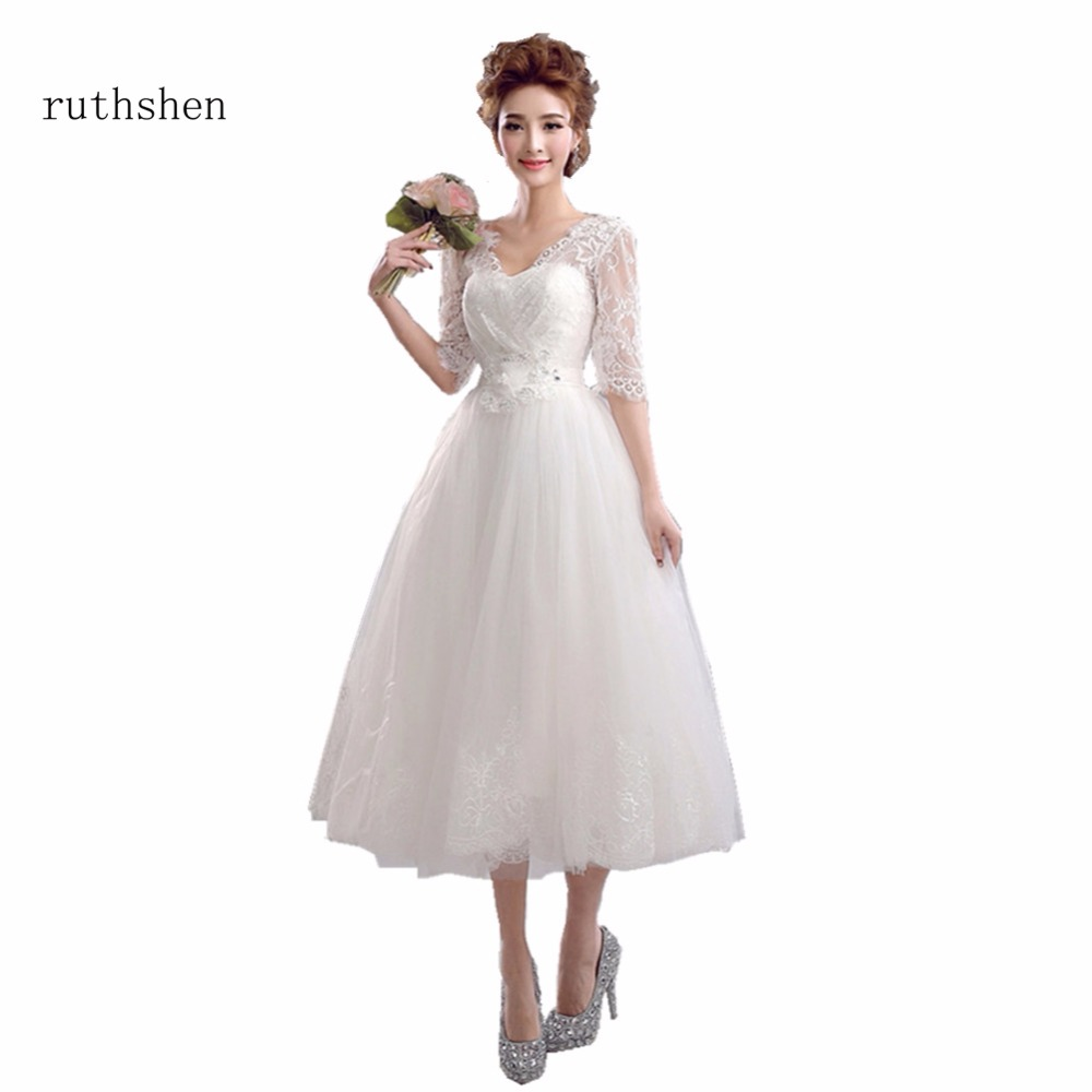 ruthshen New V Neck   Bridesmaid     Dresses   Tea Length Half Sleeves Lace Tulle Brides Maid Wedding Party   Dress   Cheap 2018