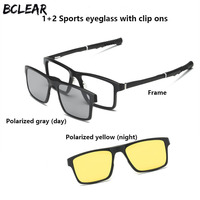 BCLEAR Sports leisure optical frame clip ons unisex myopia spectacle eyeglasses polarized sun lens night vision magnet clip on