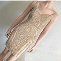 Real Photos Tulle Crystal Gold Color Party Occasion Formal Short Evening Dress Party OL102829C