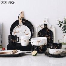Европейская мраморная глазурь керамический праздничный набор столовой посуды фарфоровые тарелки для завтрака посуда супница кофейная кружка чашка для украшения