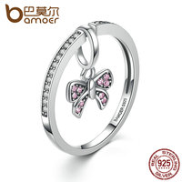 BAMOER Lovely Real 925 Sterling Silver Pink Bow Knot Finger Rings For Women And Girl Fashion