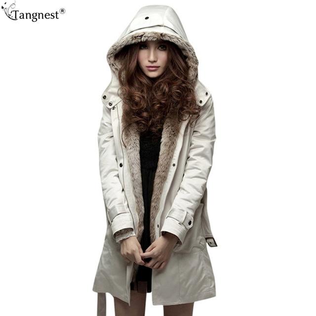 Tangnest casaco de inverno parka mulheres 2017 longos casacos de peles artificiais com capuz acolchoado patchwork casacos manteau doudoune wwm056