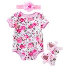 3 piezas conjunto bebé recién nacido de verano de las niñas Floral  mamelucos + cinta 3 6 12 18 24 meses bebé niñas flor mono rop. a1cf2c13784a
