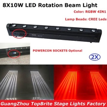 2XLot LED Bar Beam Moving Head Light High Quality 8X10W RGBW Quad Color LED Rotation Beam Lights Perfect For Dj Party Nightclubs цена и фото