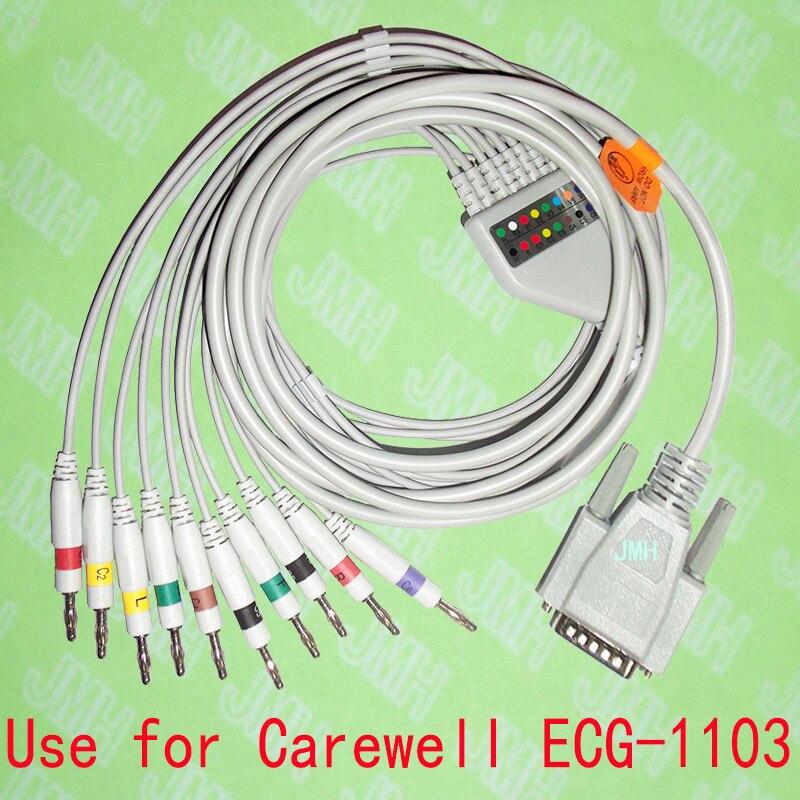 Compatible avec la Machine EKG Carewell ECG-1103 15PIN, le câble monobloc 10 fils et 4.0 fils banane, IEC ou AHA.