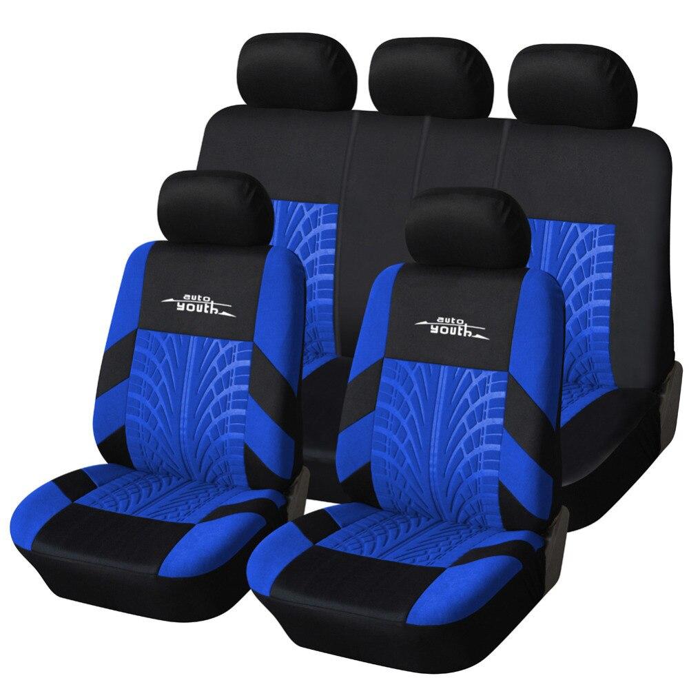 AUTOYOUTH 3 colores pista detalle estilo asiento de coche cubre conjunto de tela de poliéster Universal se adapta a la mayoría de los coches cubre el Protector del asiento del coche