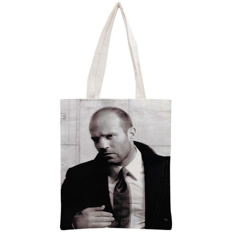 Custom Jason Statham Tote Bag Reusable Handbag Women Shoulder Pouch Foldable Cotton Canvas Shopping Bags 30x35cm Two Sides