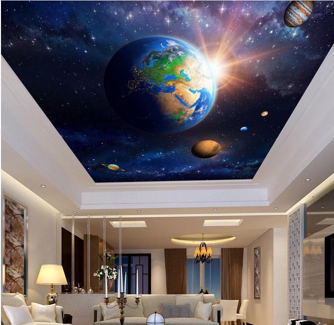 Custom 3d Sky Ceiling Wallpaper Space Planet Wall Mural 3d