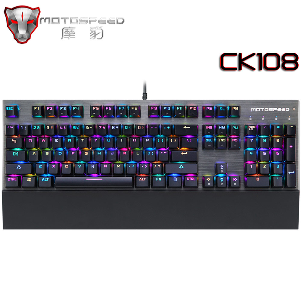 Motospeed CK108 Gaming Mechanical Keyboard Anti-Ghosting RGB Backlit LED Black/Blue Switch Wired Keyboard for Computer PC gamer