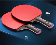 HOT Sell Brand Double Pimples-in Rubber Long / Short Handle with Bag Boll NANO-V Quality Carbon Fiber Table Tennis Racket Blade