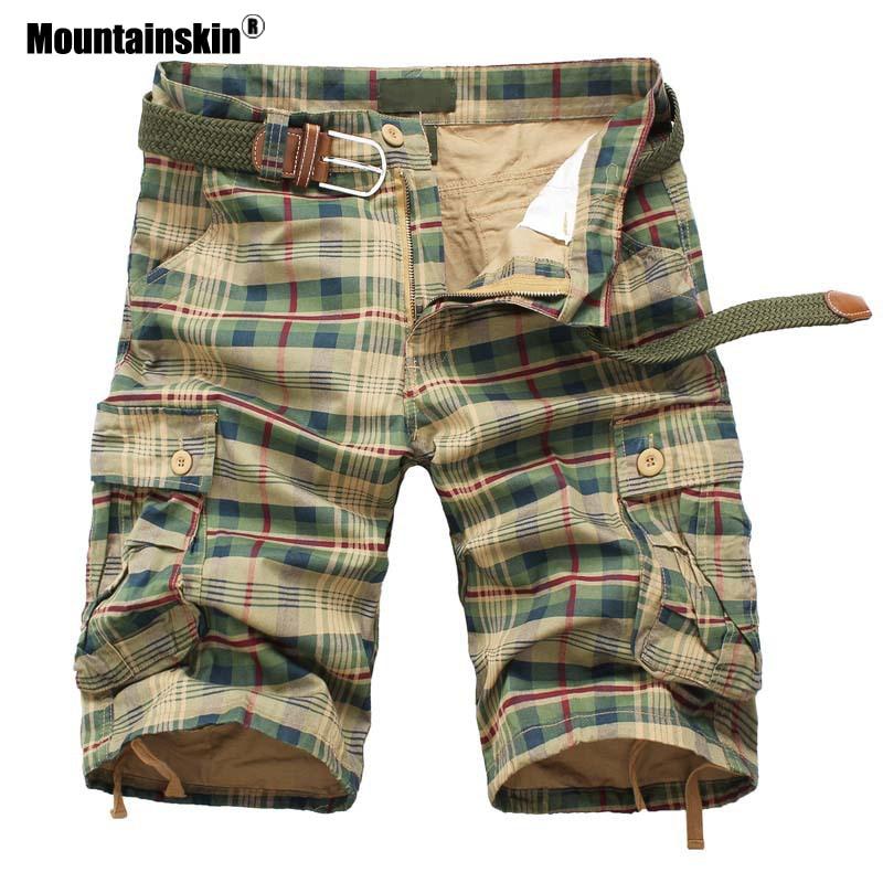Mountainskin Men Shorts 2020 Fashion Plaid Beach Shorts Mens Casual Camo Shorts Military Short Pants Male Cargo Overalls SA686