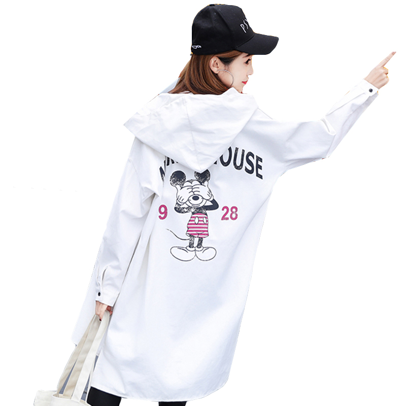 2018 Pregnant Women Spring Trench Coat New Fashion Long Large Size Coat Printed Letters Windbreaker Female Loose Top Tide