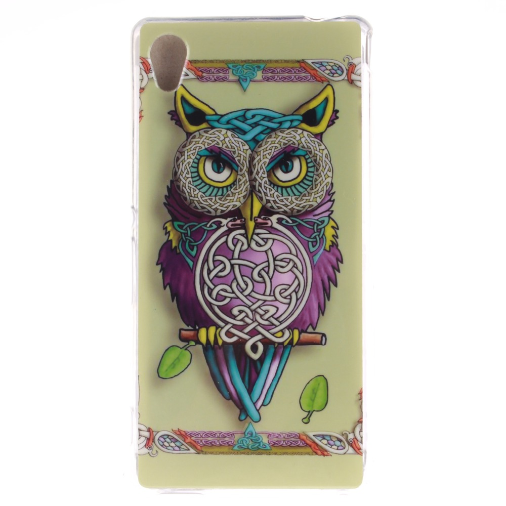 N Colourful Painting Style Owl Bird Tiger Lion Soft Tpu Case For Sony Xperia Z5 Premium Ultrathin Casing Shield Bumper Z2 Z3 Mini Compact M2 M4 Aqua M5 T3 E4