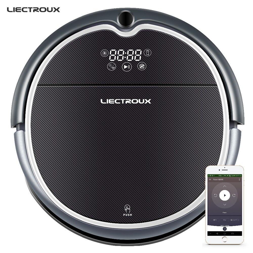 LIECTROUX Robot Aspirateur Q8000, WiFi App, 2D Gyroscope Carte de Navigation, Visuel Localisation, Mémoire, Humide Sec Vadrouille, Aspiration 3000 Pa