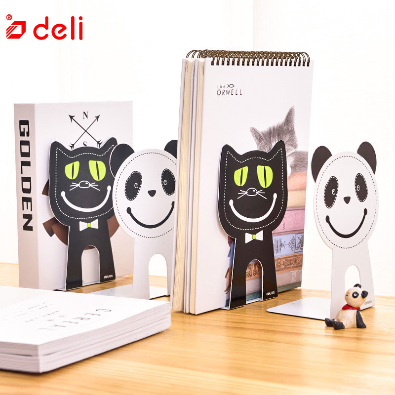 Deli Stationery Cute Kawaii Bookends Metal Desk Accessories Book Stand For Student Book Shelf Holder 2 PCS/Set School Supplies