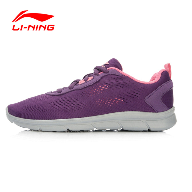 Li-Ning Purple Women's Cushioning Running Shoes Mesh Breathable Light Running Sneakers Outdoor Sports Shoes ARHL046 XYP460