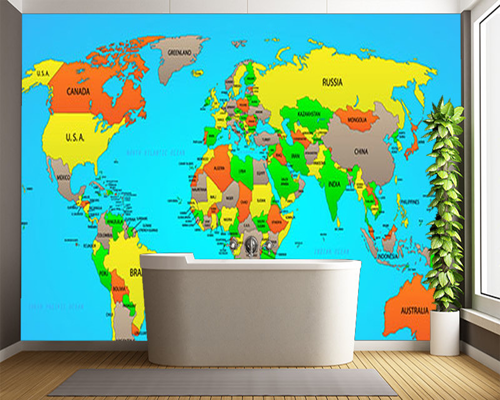 Modern Wallpaper,Political World Map,Children's Wallpaper For Kids Rooms Sofas Background Walls PVC Rolls Papel De Parede