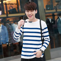 Sweater male new fashion O Neck stripe color leisure men's  Striped brand clothing Cashmere wool blend sweaters big size