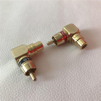 100pcs/lot L Type 90 Degree RCA Adapter Male to Female Converter Jack Plug for Vedio Audio Cable DIY Gold