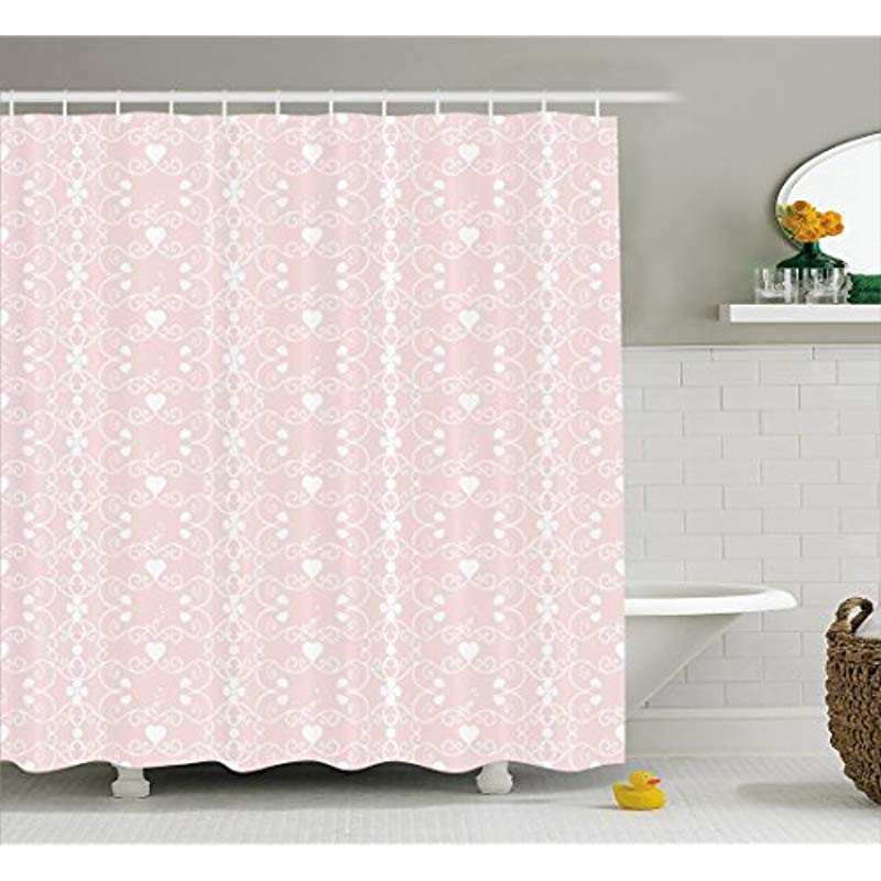 Vixm Pink And White Shower Curtain Victorian Style Girly