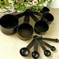 Tazas De Medir De Plástico negro 10 unids/lote Cocina Herramientas de Medición Cuchara Dosificadora Set Herramientas Para Hornear Té Café