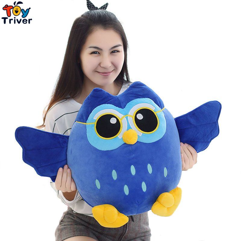 Soft Plush Cartoon Blue Grey Purple Owl Toy Stuffed Doll Creative Children Kids Baby Birthday Kawaii Dolls Gift Home Shop Decor 6pcs plants vs zombies plush toys 30cm plush game toy for children birthday gift