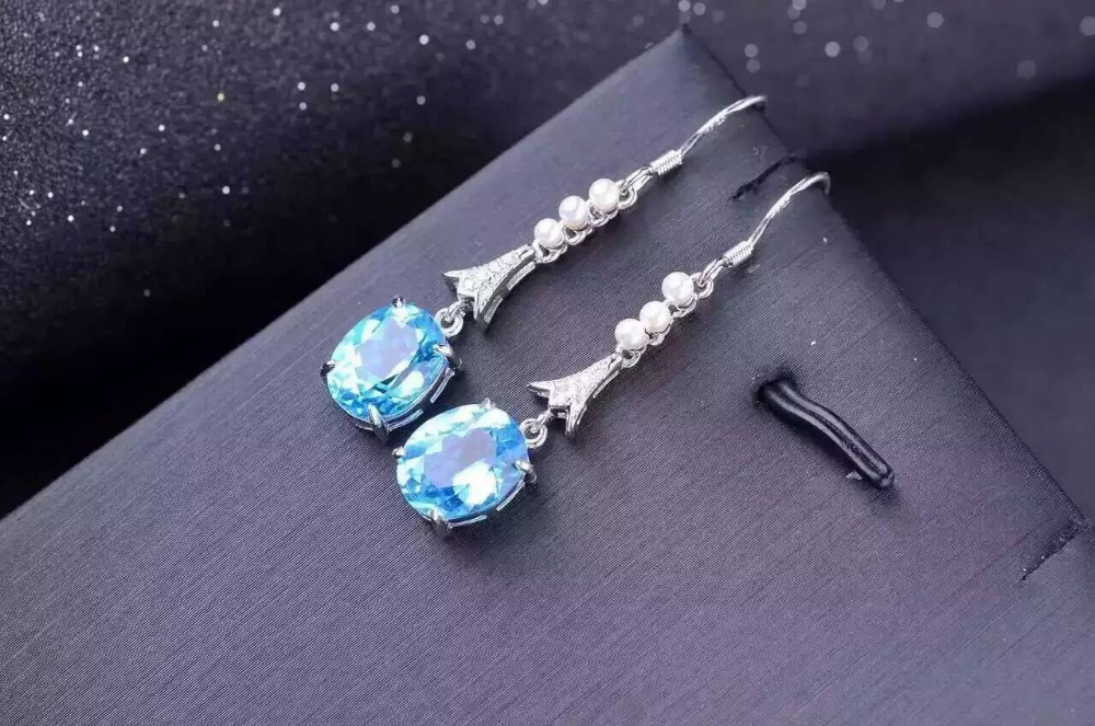 natural blue topaz stone drop earrings 925 silver Natural gemstone earring women Classic elegan drop Earrings for party natural blue or white opal drop earrings 925 silver natural gemstone earring for women trendy elegant drop earrings for party