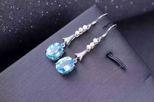 natural blue topaz stone drop earrings 925 silver Natural gemstone earring women Classic elegan drop Earrings for party