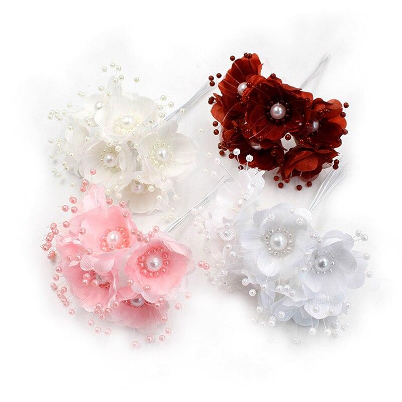 6 шт./лот жемчуг шелк Cherry Искусственные цветы букет для свадьбы Home Decor поддельные цветы DIY Craft венок Скрапбукинг поставки