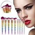 10 UNIDS Pinceles de Maquillaje De Plástico Mango de Diamante Sintético Del Pelo Del Arco Iris Brillo Fundación Polvo de Sombra de Ojos Kits de maquillaje Cepillo conjunto