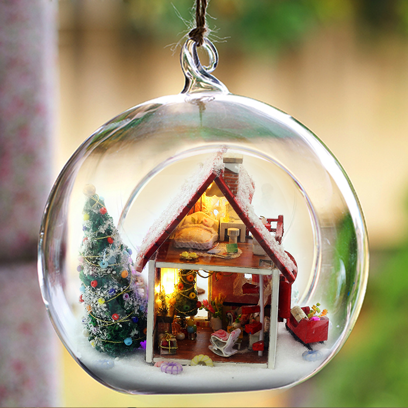 Elegant DIY Dollhouse Miniature With 3D LED Furniture Glass Ball Hemp Rope Ornament Handmade Casa Toys Gift For Children G010 #E