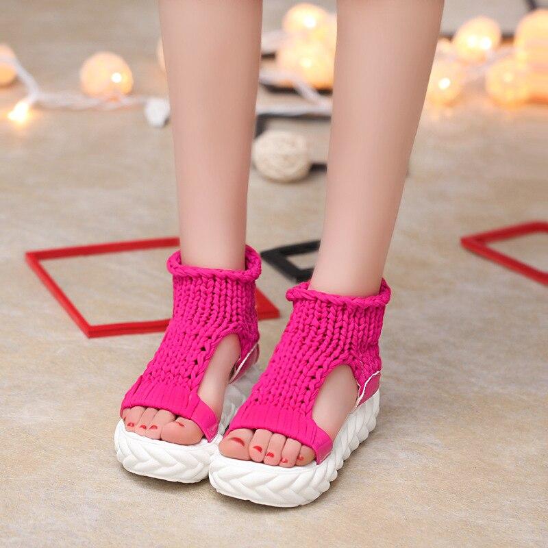 Вязаные сандалии, женские сандалии-гладиаторы на платформе, модная женская обувь, однотонные, повседневные, летние, на плоской подошве,, с открытым носком, вязаные вьетнамки - Цвет: red