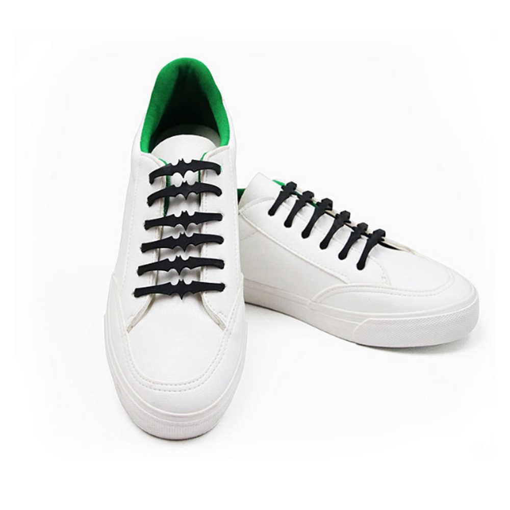 12 PC/16 PC ซิลิโคนรองเท้าลูกไม้พลาสติกยืดหยุ่นไม่มี Tie สีขาวสีดำสีเทาซิลิโคน lacci เด็กผู้ใหญ่ค้างคาวรูปร่าง Shoelaces ยืดหยุ่น