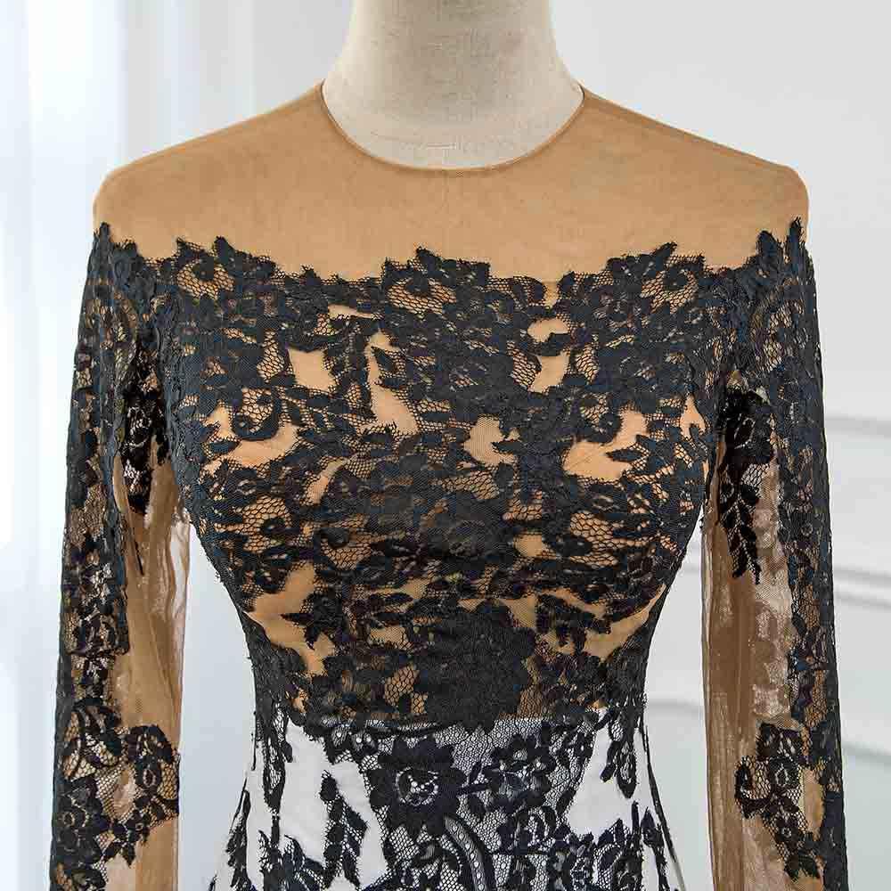 ... CAZDZY Elegant Black and White Full Sleeve Prom Dresses 2018 Knitting  Lace Women Dress Real Photos ... eabc75941c3a