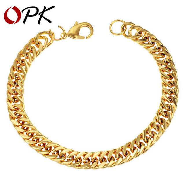OPK JEWELLERY 18K YELLOW Gold Plated Bracelet For men Classic Link chain 20cm charming bracelet Retail or Wholesale 151