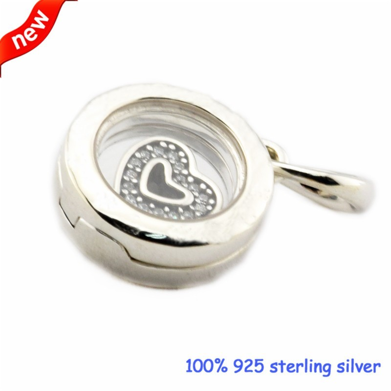 Floating Locket Beads Fits Pandora Bracelets Sapphire Crystal Glass Clear CZ Beads 2016 Autumn Jewelry 925 Sterling Silver Charm  (3)