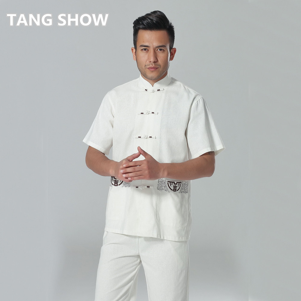 9366bcd58 New White Chinese Men's Summer Leisure Shirt High Quality Cotton Linen Kung  Fu Tai Chi Shirts Size S M L XL XXL XXXL AB002-in Casual Shirts from Men's  ...