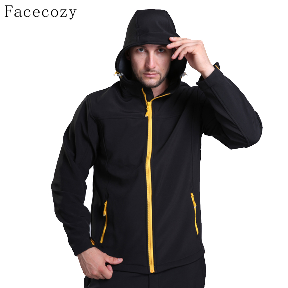 Facecozy Men Autumn Breathable Climbing Softshell Jacket Male Winter Inner Fleece Fishing Coat