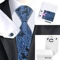 B-981 Para Hombre Corbata de Seda Azul Paisley Corbata Hanky Gemelos Caja de Regalo Bolsa Establece Lazos Para Los Hombres de Negocios de La Boda Hombres Regalos
